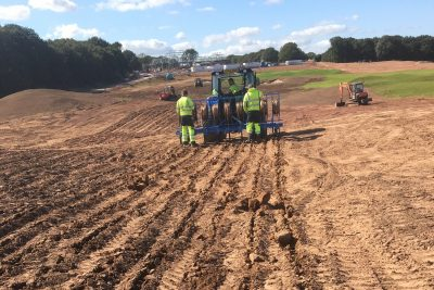 Dripline irrigation being installed at Whittington Heath.